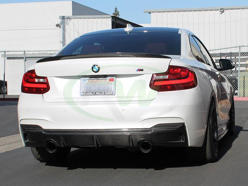 BMW F22 M235i in Alpine White with an RW Performance Style Carbon Fiber Trunk Spoiler