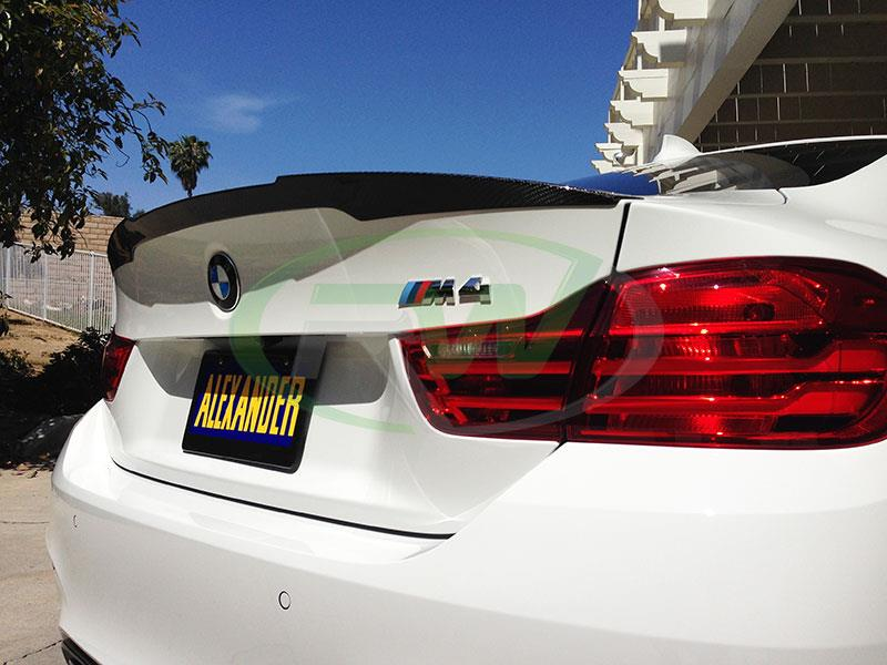 Performance style carbon fiber trunk spoiler installed on the RW Carbon F82 M4.