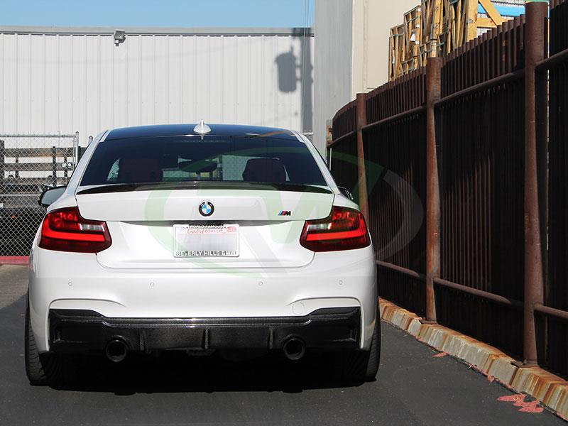 White BMW F22 M235i with an RW Exotics Tuning Style Carbon Fiber Rear Diffuser