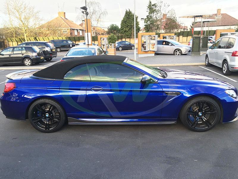 BMW F12 M6 in blue with RW Carbon Fiber Side Skirt Extensions