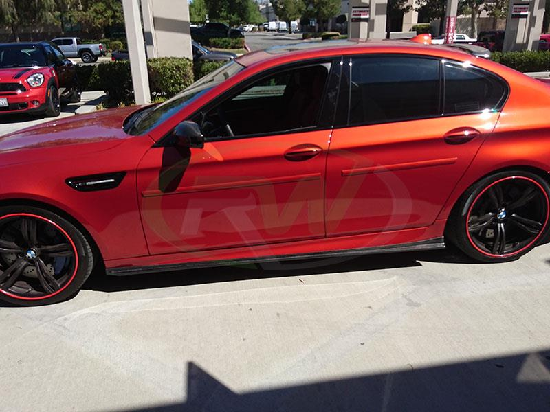 BMW F10 M5 with a set of 3D Style Carbon Fiber Side Skirt Extensions from RW Carbon