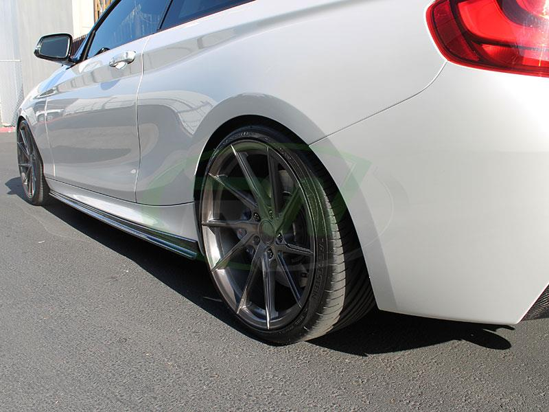 BMW F22 M235i in white with RW 3D Style Carbon Fiber Side Skirt Extensions