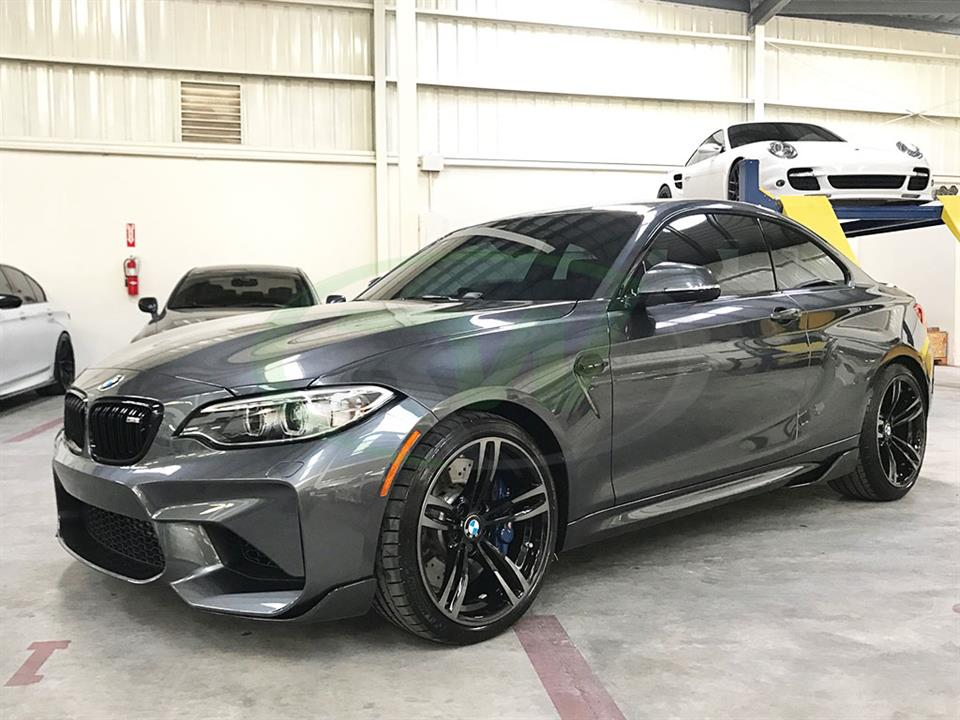 Grey BMW F87 M2 with RW Carbon Fiber Front Splitters