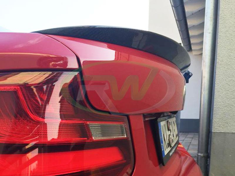 BMW F22 228 in red with an RW Carbon Performance Style CF Trunk Spoiler
