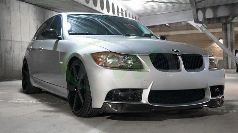 BMW E90 335i in silver with an RW Carbon Fiber Lip for M3 Style Bumper