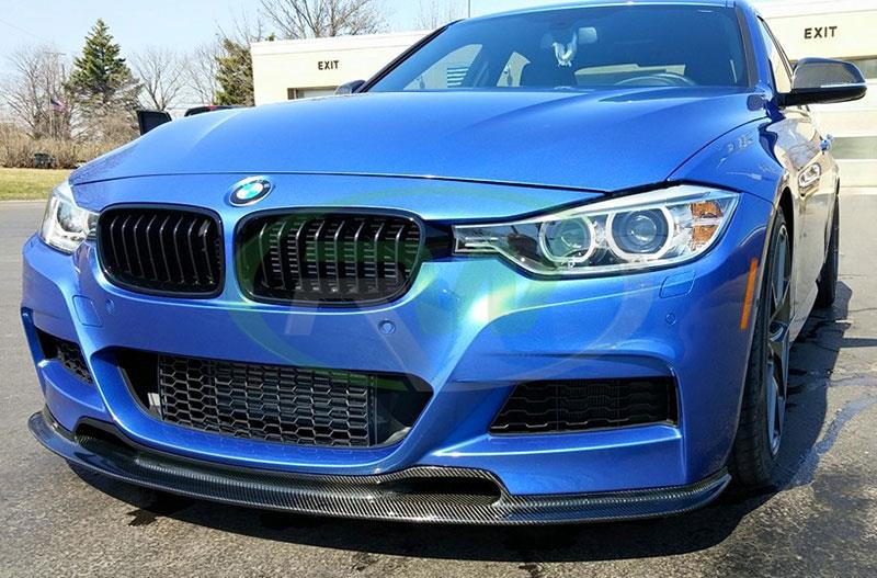 BMW F30 335i in blue with an RW Carbon Varis Style Carbon Fiber Front Lip