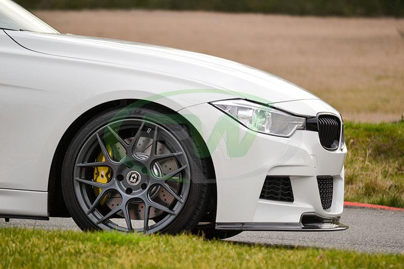 BMW F30 328i in white with a Varis Style Carbon Fiber Front Lip