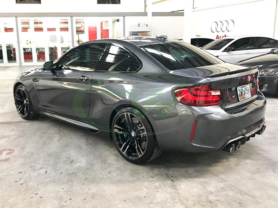 Grey BMW F87 M2 with RW Carbon Fiber Side Skirt Winglets