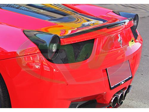 Ferrari 458 Italia wearing the carbon fiber tail light covers from RW Carbon