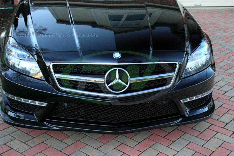 Carbon fiber front lip installed on the 2014 mercedes w218 cls63 amg.