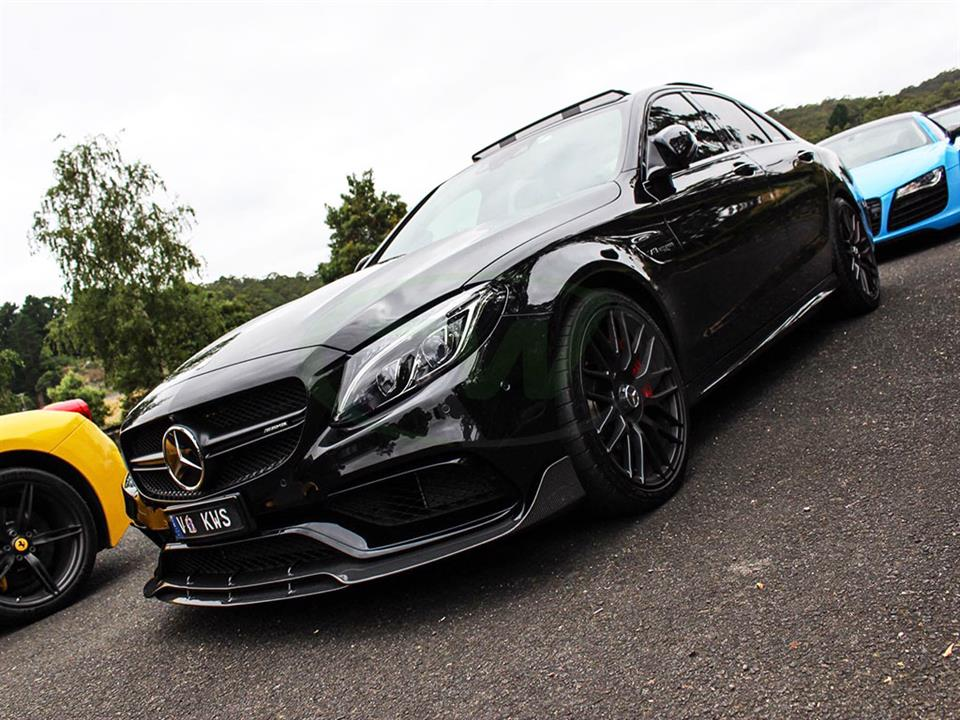 Black Mercedes W205 C63 AMG with an RW Brabus Style Carbon Fiber Front Lip