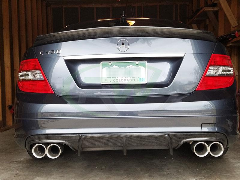 Grey Mercedes W204 C350 with Arkym Style Carbon Fiber Diffuser