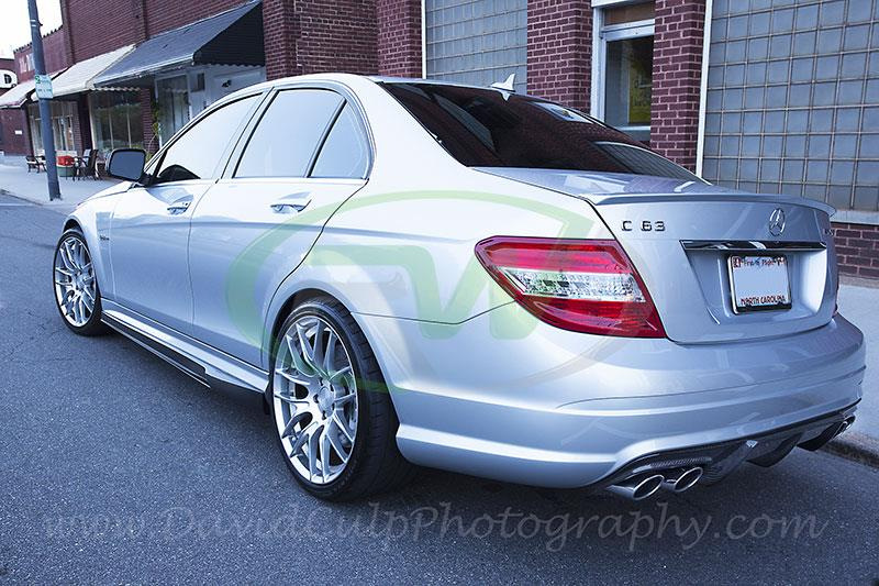 arkym style carbon fiber diffuser installed on 2010 mercedes w204 c63.