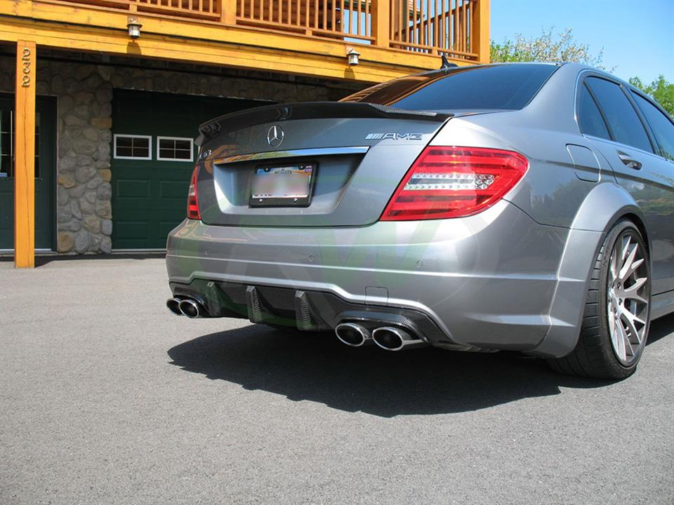 Silver Merc C63 AMG with the RW Carbon Fiber Big Fin Diffuser
