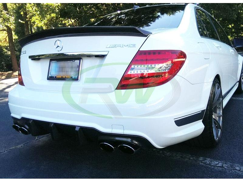 White Mercedes C63 AMG with an RW Big Fin Carbon Fiber Diffuser