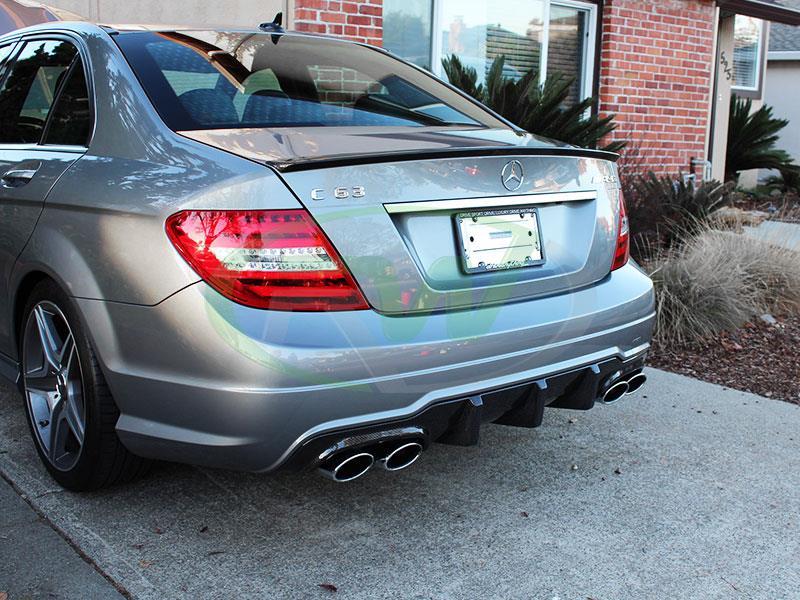 Mercedes W204 C250 C350 C63 AMG Big Fin Carbon Fiber Rear Diffuser