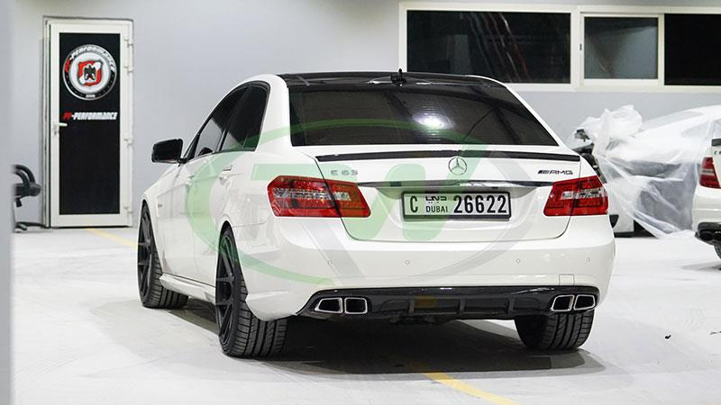 White Mercedes W212 AMG with an RW DTM Carbon Fiber Diffuser