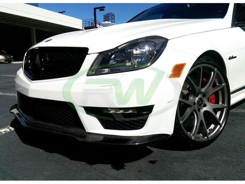 Mercedes C63 AMG in white with a Black Series Style Carbon Fiber Lip