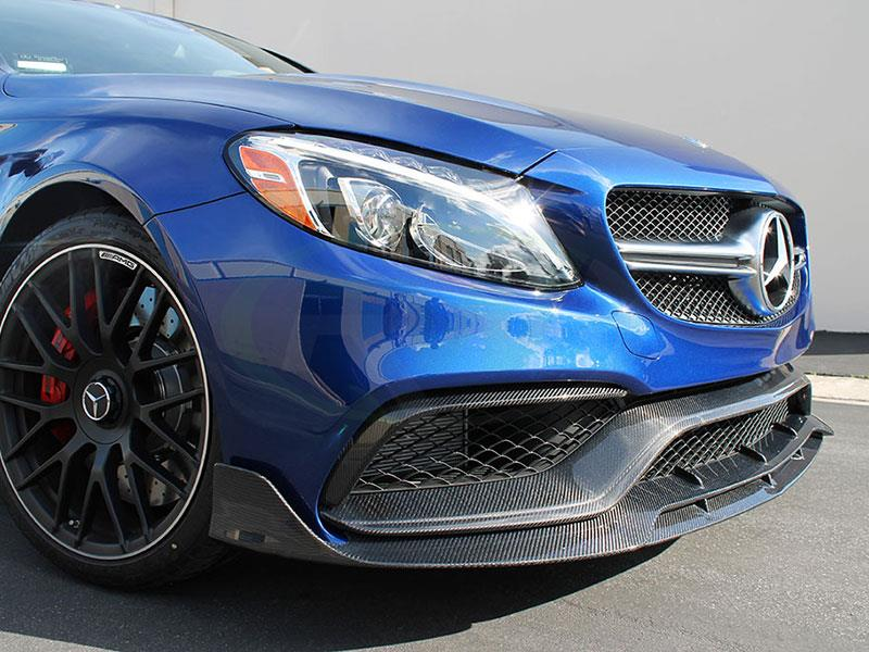 Brilliant Blue Mercedes W205 C63S AMG with RW CF Bumper Trim