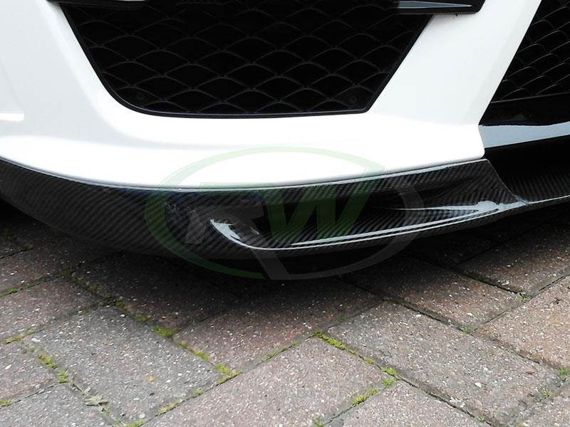 DTM Carbon Fiber Front Lip installed on a Mercedes C63 AMG in White
