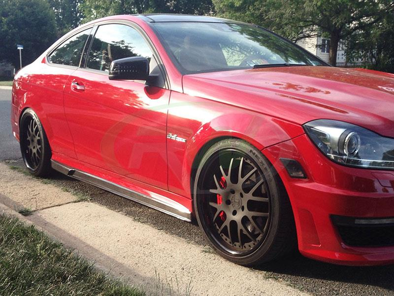 Red Mercedes W204 C63 with RW Carbon DTM CF Side Skirt Extensions