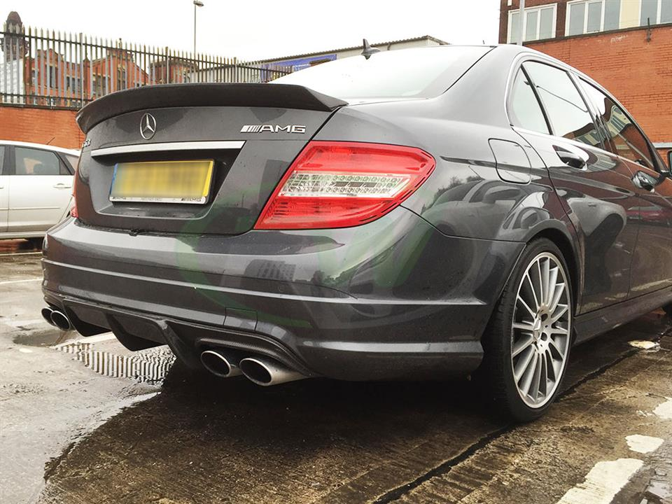 Mercedes C63 AMG from Europe with an RW Arkym Style Carbon Fiber Diffuser