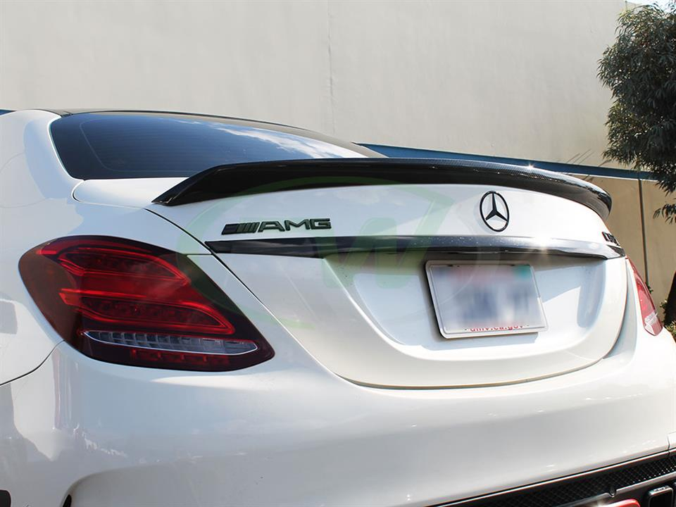 White Mercedes W205 C63 AMG with an RW DTM Carbon Fiber Trunk Spoiler