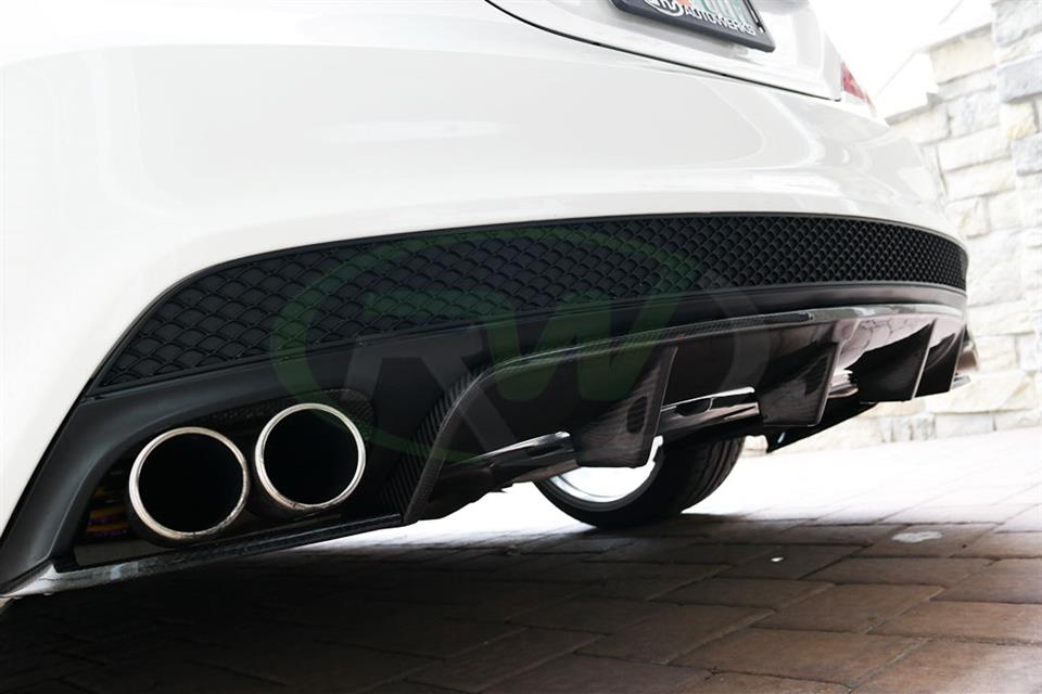 A White Mercedes CLA250 with an RW Carbon Fiber Rear Diffuser