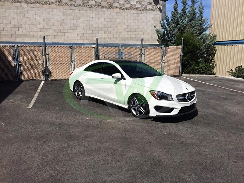 A Mercedes C117 CLA205 in white with an RW Carbon Fiber Front Lip