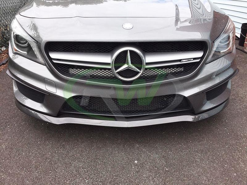 Mercedes C117 CLA45 AMG in grey with an RW Carbon Fiber Front Lip