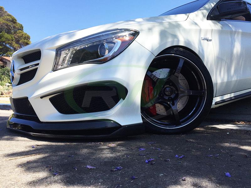 White Mercedes C117 CLA45 AMG with a Revo Style Carbon Fiber Front Lip