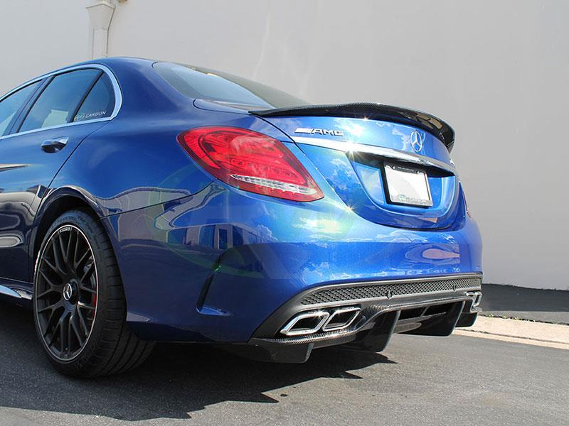 Brilliant Blue Mercedes W205 C63 with an GTX Carbon Fiber Diffuser