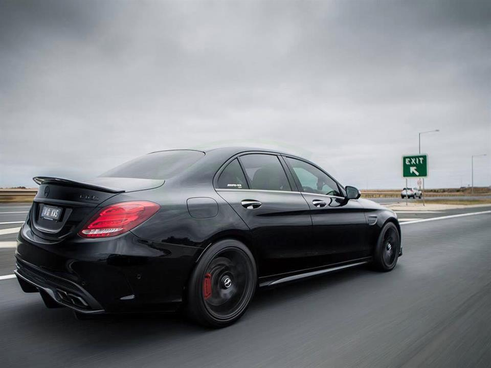 Black Mercedes W205 AMG C63 with a GTX Carbon Fiber Diffuser Installed