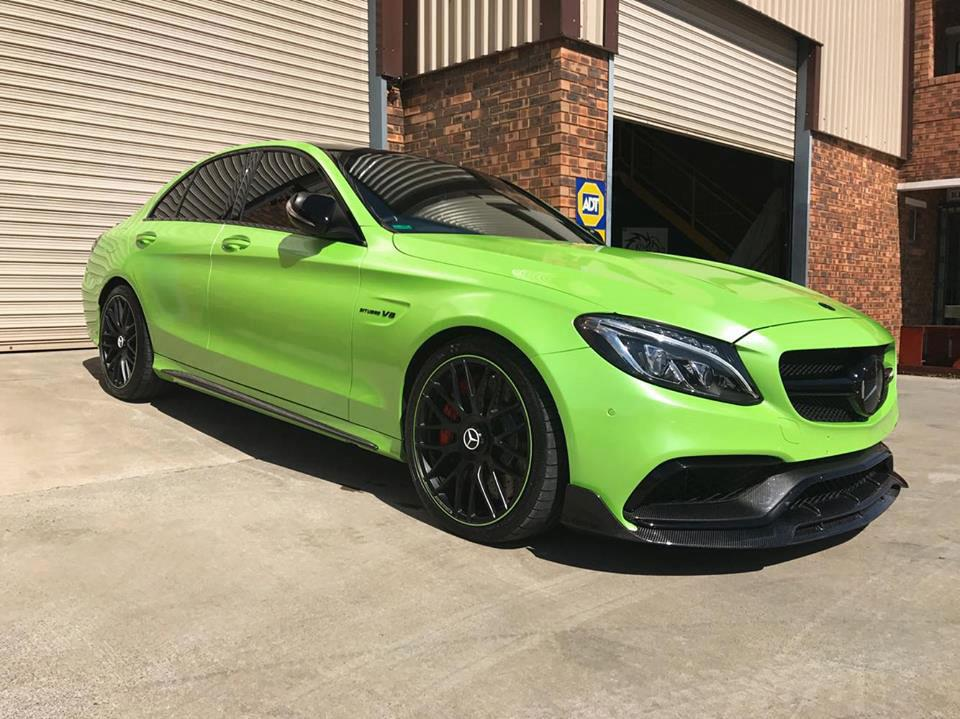 Lime Green Mercedes W205 C63 AMG Brabus Style Carbon Fiber Front Lip