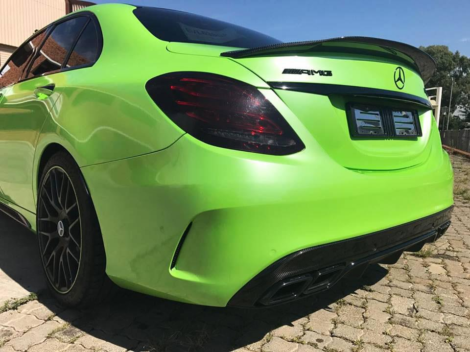 Lime Green Mercedes W205 C63S with an RW GTX carbon Fiber Trunk Spoiler
