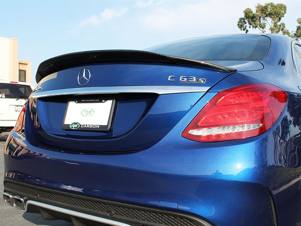 Brilliant Blue Mercedes W205 C63S GTX with an RW Carbon Fiber Trunk Spoiler