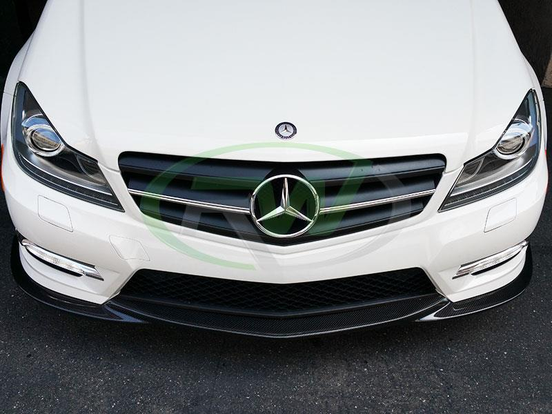 Mercedes W204 C250 in white with an RW Carbon Fiber Front Lip Spoiler