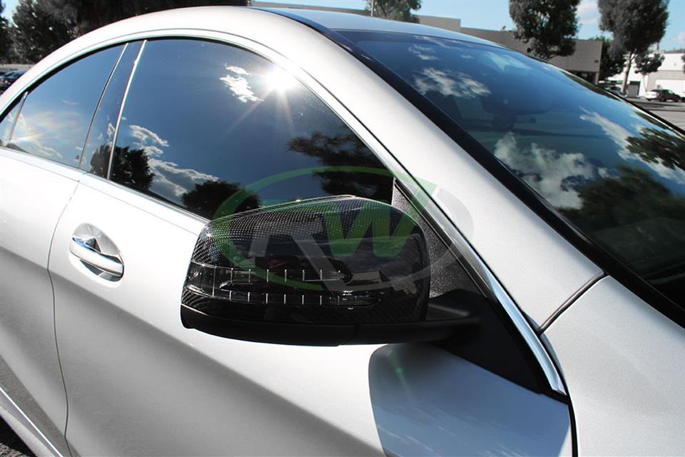 Mercedes CLA250 with a set of RW Carbon Fiber Replacement Mirror Covers