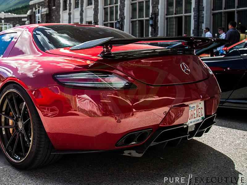 Red Mercedes SLS AMG with an RW Renn Style Carbon Fiber Diffuser