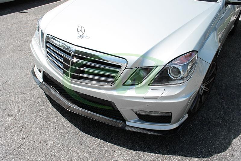 Silver Mercedes W212 E63 with a Renn Style CF Front Lip Spoiler