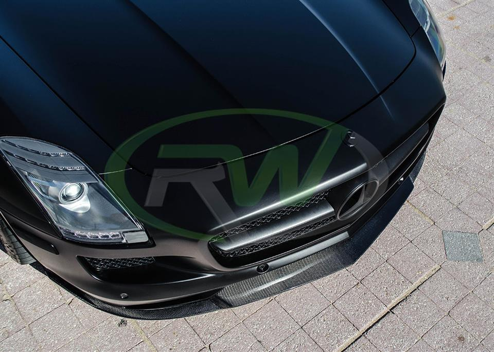 A Black Mercedes SLS with a Renn Style Carbon Fiber Front Lip from RW Carbon