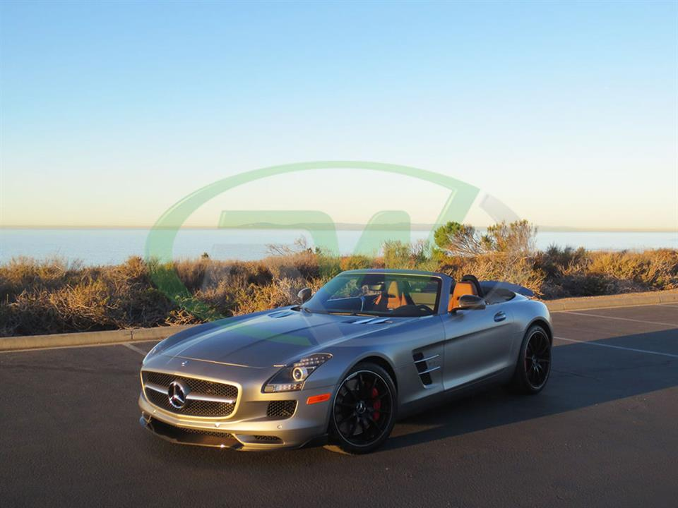 Silver Mercedes SLS AMG Roadster with an RW Renn Style Carbon Fiber Front Lip