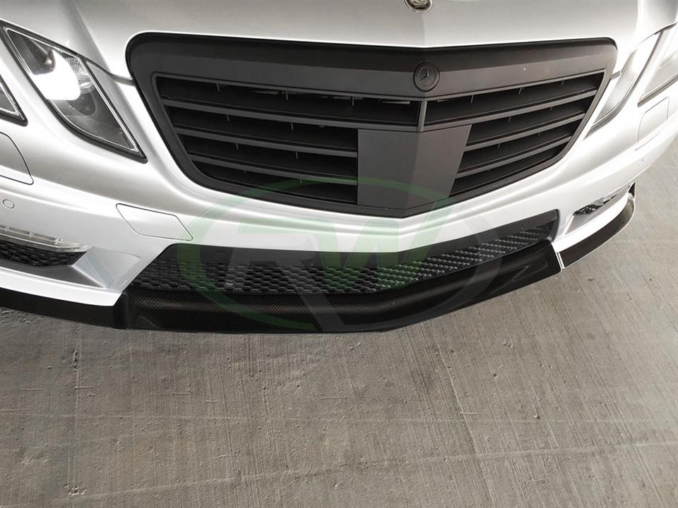 Silver Mercedes W212 E63 with the RW Renn Style Carbon Fiber Front Lip Spoiler