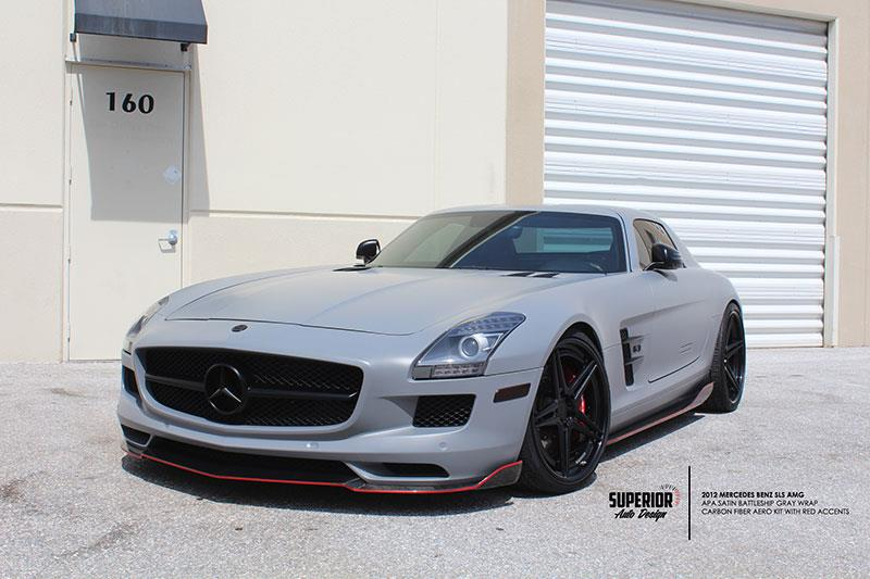 Matte Grey Mercedes SLS AMG with a set of RW Renn Style CF Side Skirt Extensions