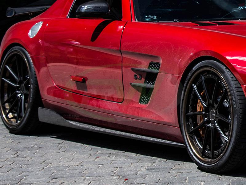 Red Mercedes SLS AMG with a new set of RW Renn Style CF Side Skirt Extensions