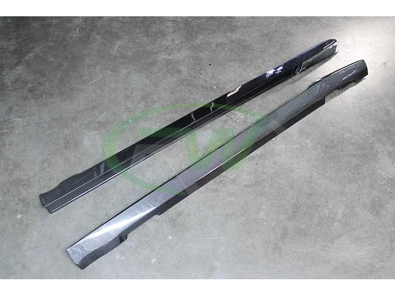 Mercedes W204 C63 V Style CF Side Skirt Extensions