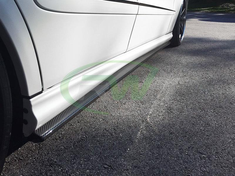 White Mercedes W211 E63 Carbon Fiber Side Skirt Extensions