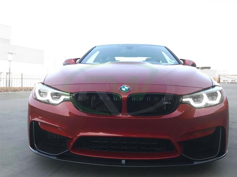 Red BMW F82 M4 Performance Style Carbon Fiber Front Lip Spoiler