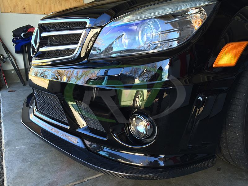 Arkym style carbon fiber front lip from RW Carbon installed on Mercedes 2009 C63 AMG.
