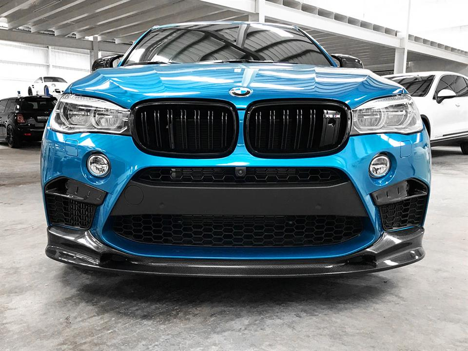 Blue BMW F85 X5M with a 3D Style Carbon Fiber Lip from RW